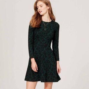 Loft Green & Black Jacquard Long Sleeve Mini Dress